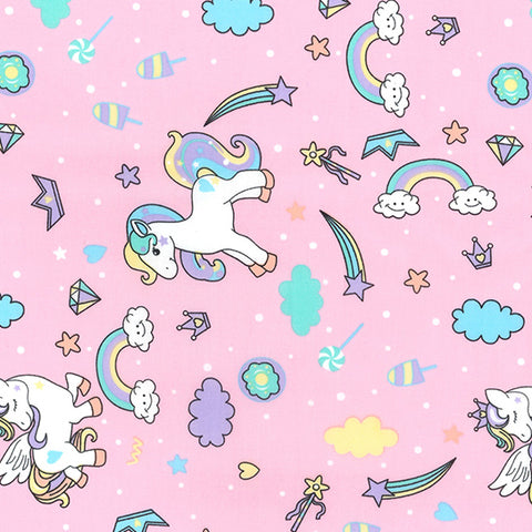 Magic Rainbow Ponies Poplin, Pink - Per Half Metre