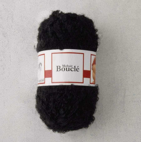 Black Waldorf Doll Hair - Mohair Bouclé Yarn - 50g ball