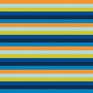 Multi Stripe Cotton Jersey - Blue & Orange