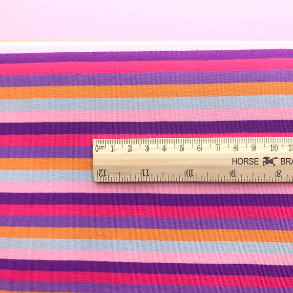Multi Stripe Cotton Jersey - Pink & Purple