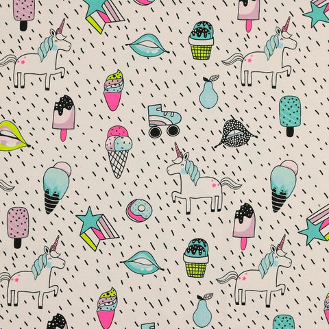 Neon Unicorns Cotton Jersey - Powder Pink - Per Half Metre