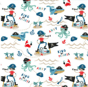 Pirates White Organic Cotton Jersey - Per Half Metre
