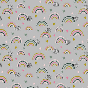 Organic Cotton Jersey - Rainbows on Grey