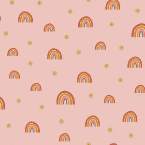 Rainbows Organic Cotton Sweatshirt Fabric - Rose Pink