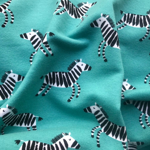 Soft Organic Sweatshirt Jersey - Happy Zebras Green, Per 1/2 Metre