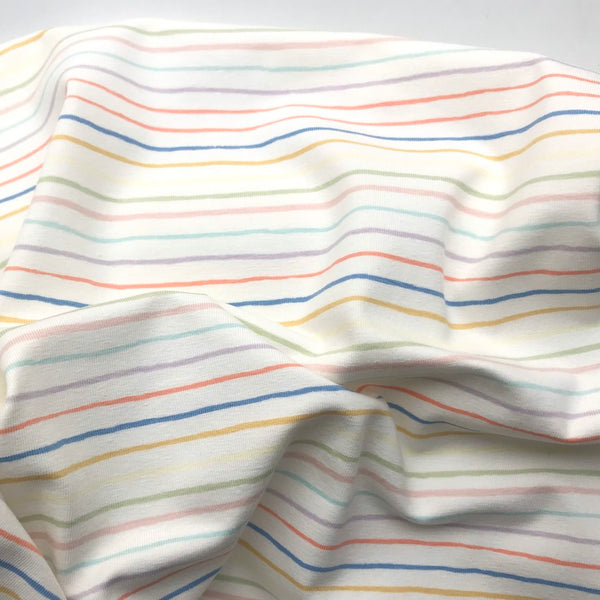 Paint Stripe Cotton Jersey Ecru - Per Half Metre