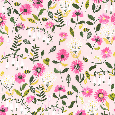 Pink Bees and Flowers Cotton Poplin - 0.5m