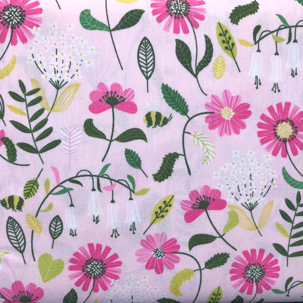 Pink Bees and Flowers Brushed Cotton Poplin - 0.5m