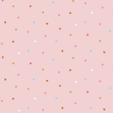 Pink Hearts Cotton Poplin - Per 1/2 Metre