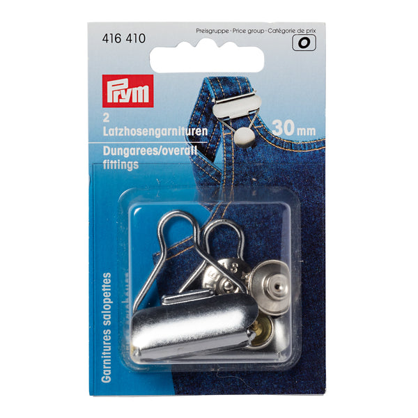 Prym Dungarees Fittings Silver, 30mm - Set of 2