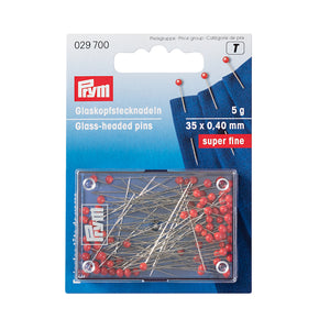 Prym Glass Headed Pins - Red Super Fine 0.40mm 5g
