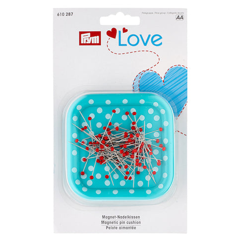 Prym Love Magnetic Pincushion With Red Glass-Headed Pins