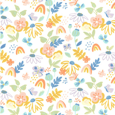 85cm BOLT END - 20% OFF - Rainbows & Flowers Cotton Jersey Ecru