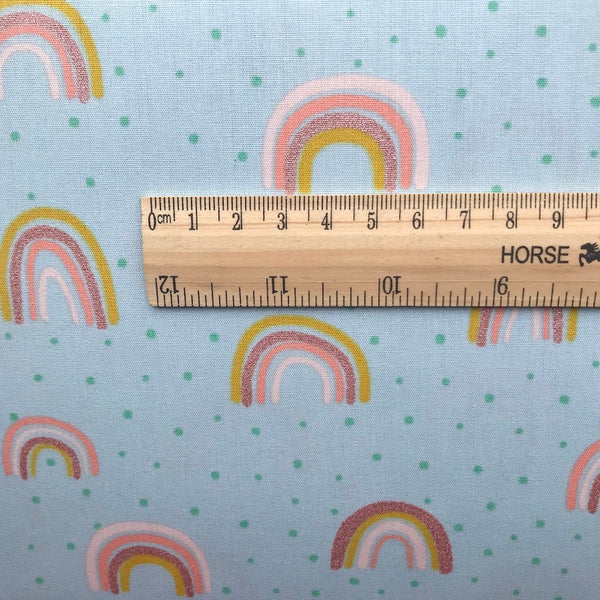 Mint Rainbow Metallic Cotton Poplin - 0.5m