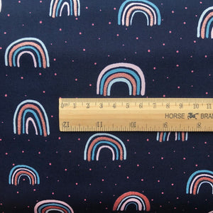 Navy Rainbow Metallic Cotton Poplin - 0.5m