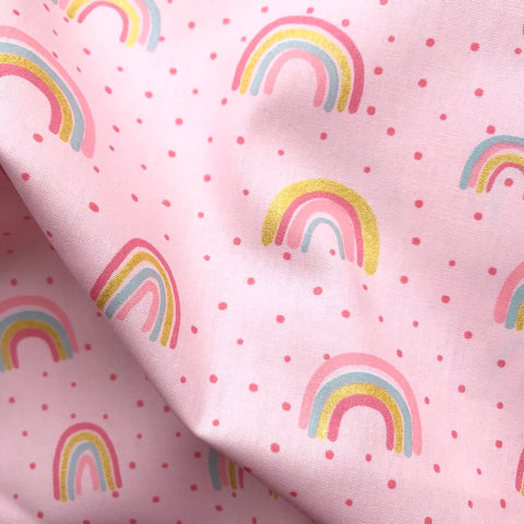 Pink Rainbow Metallic Cotton Poplin - 0.5m