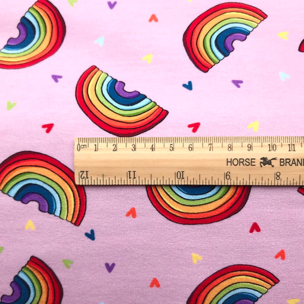 Rainbows on Pink French Terry - Thick Cotton Jersey