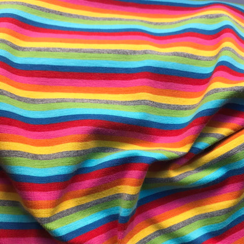 Retro Rainbow Stripe Cotton Jersey - Per Half Metre