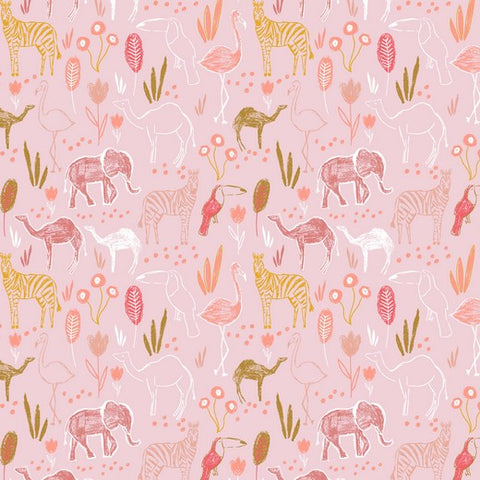 Safari Animals Pink Cotton Poplin - 0.5m