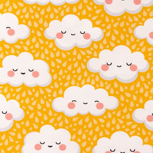 Sleepy Clouds Cotton Jersey - Ochre Yellow