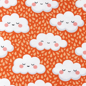 Sleepy Clouds Cotton Jersey - Orange