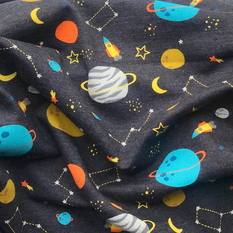 Space Rockets Grey Jersey - Per Half Metre