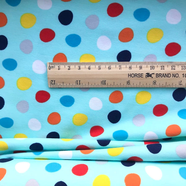 Spotty Aqua Cotton Jersey