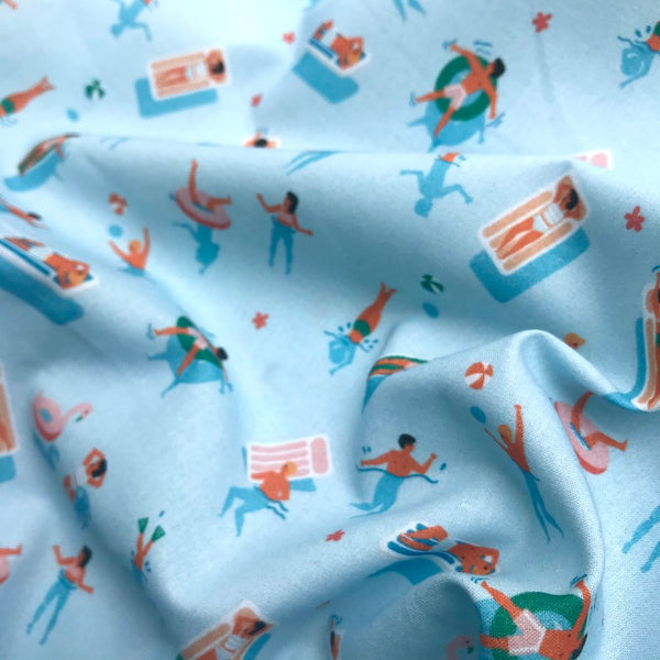 Summer Swimmers Woven Cotton Fabric - By The Half Metre