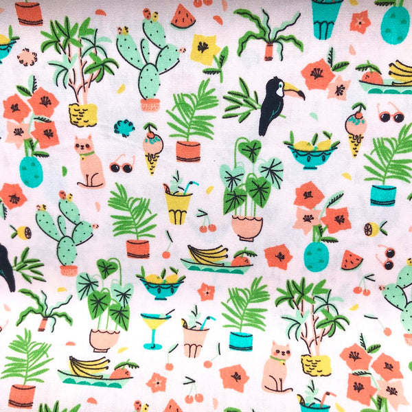 Tropical Summer Cotton Poplin - Peach - 0.5m