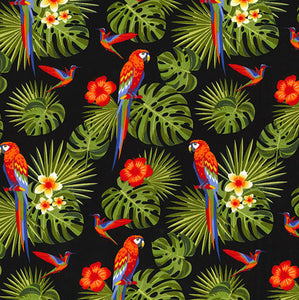 Tropical Parrots on Black Poplin - per 0.5m