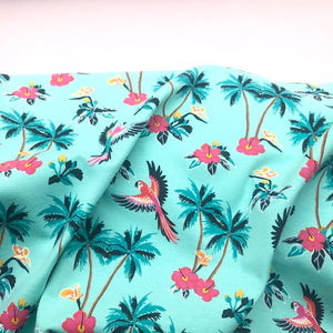 Tropical Parrots Cotton Jersey - Mint