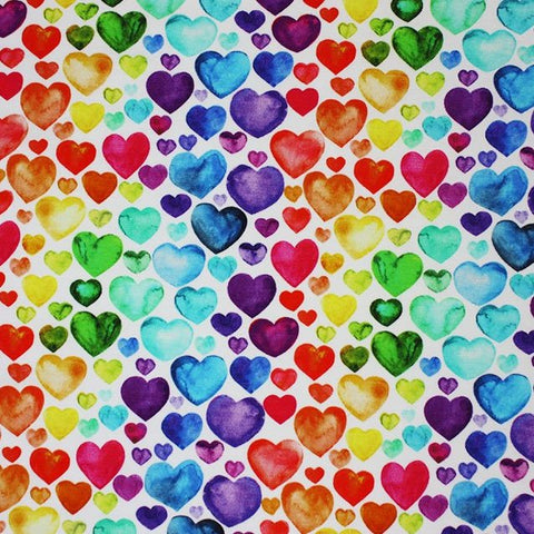 Watercolour Rainbow Hearts Cotton Jersey, White - Per 1/2 Metre