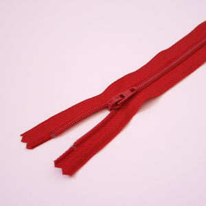 30cm 12 Inch Nylon YKK Dress Zip - 519 Red