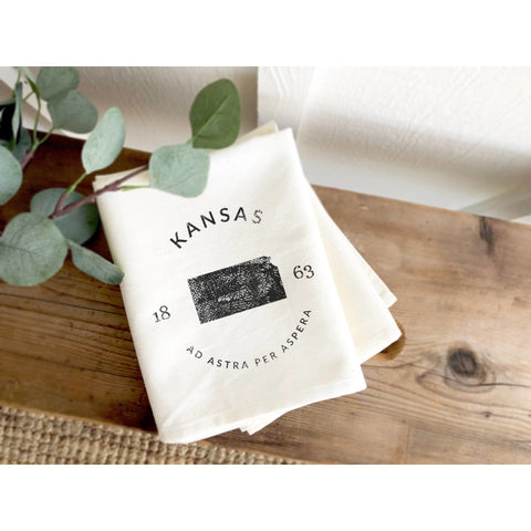 Home State Badge and Motto - Cotton Tea Towel