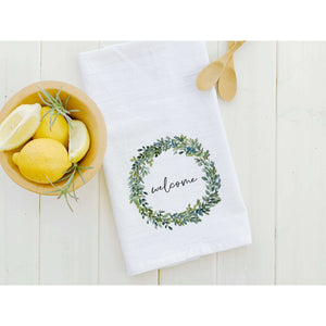 Welcome Boxwood Wreath - Cotton Tea Towel