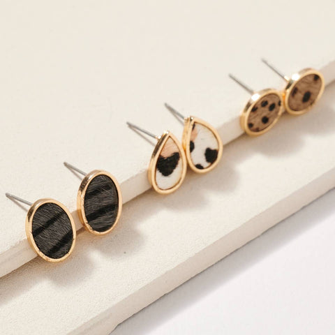 Animal Print Calf Hair Stud Earrings Set