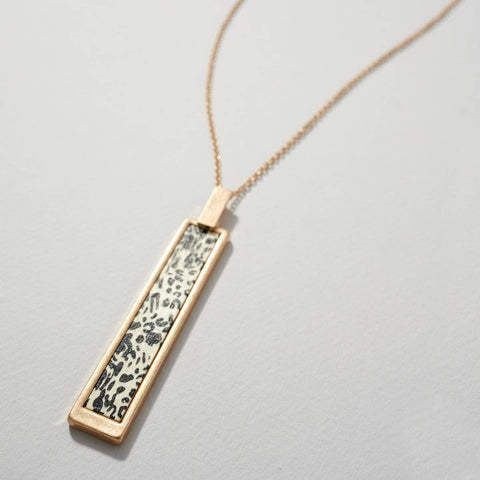 Leopard Print Wooden Bar Pendant Necklace