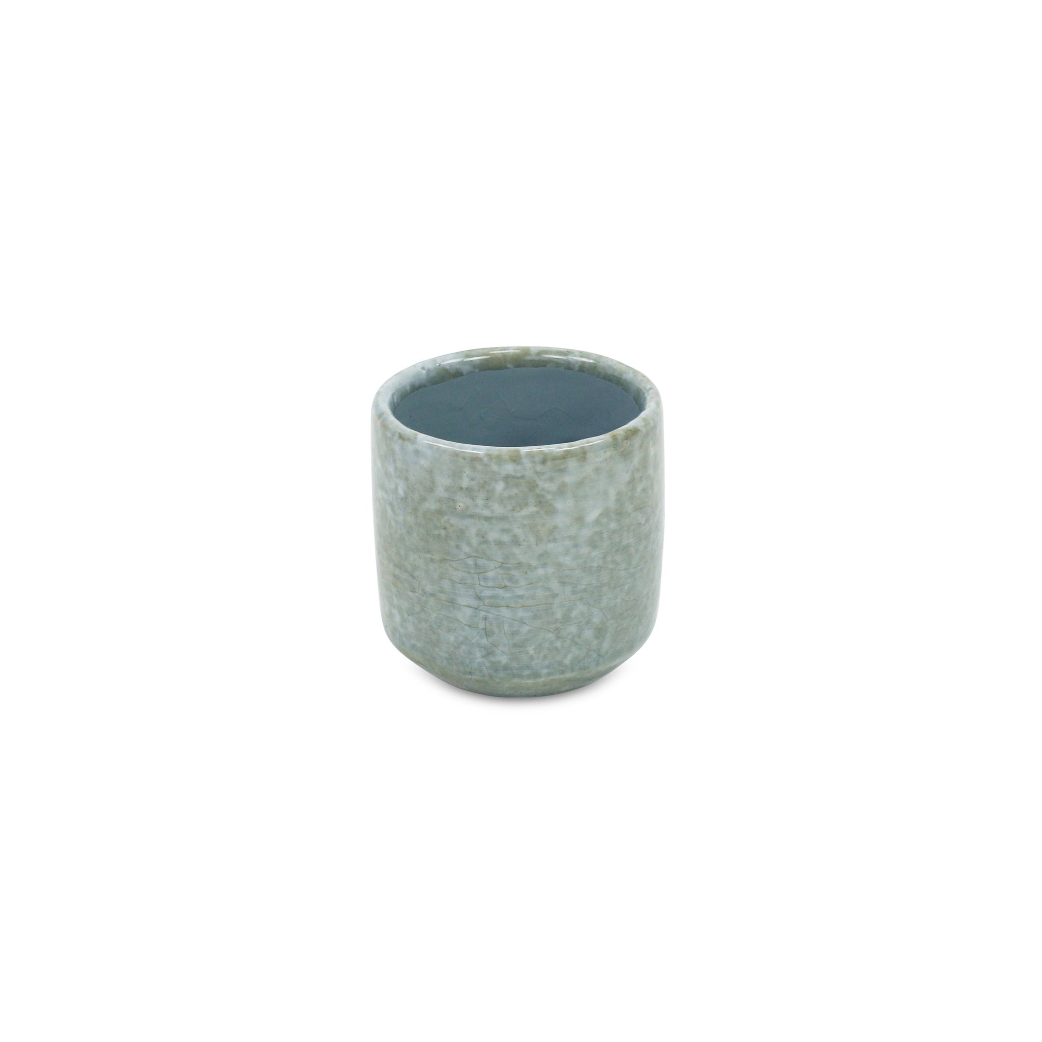 Gray Ceramic Planter with Mosaic Pattern
