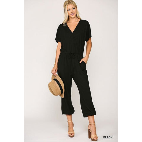 Black leopard jumpsuit