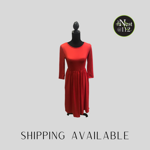 Red mid length dress