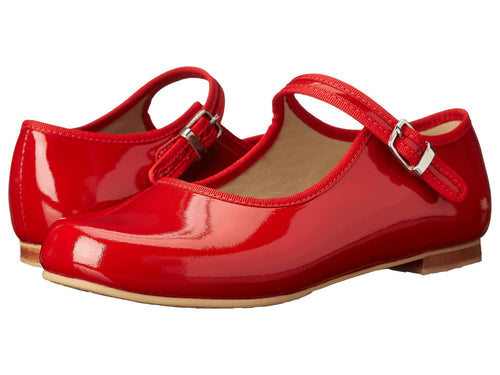 Mary Jane with Piping - Red Patent