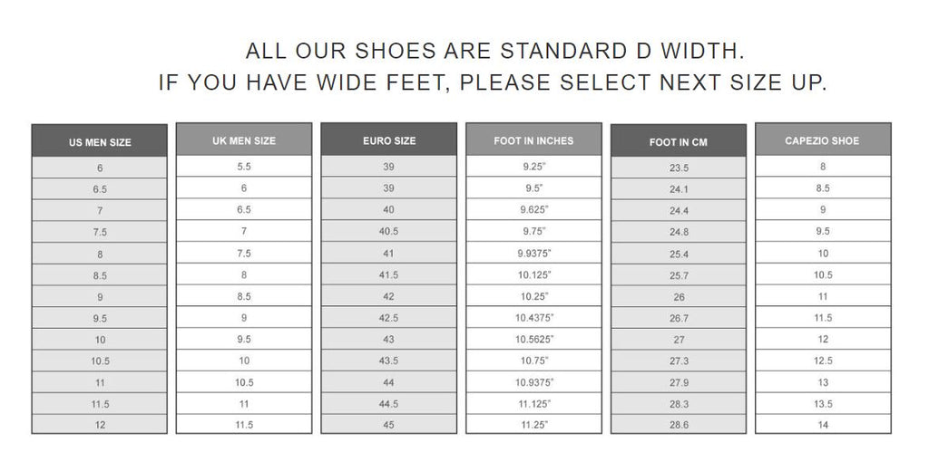 Fassona Handmade Shoes & Accessories Sizing Chart