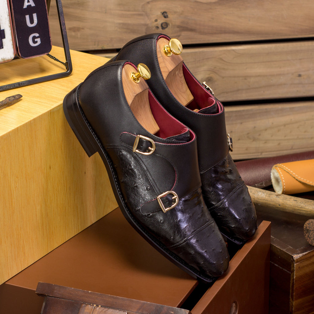 Double Monk Ostrich Skin Shoes