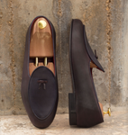 Belgian Slipper - Marine & Oxblood Calf