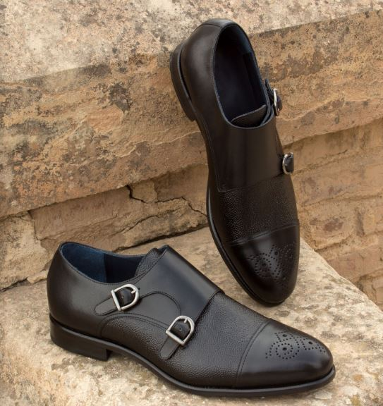 Double Monk - Black Box Calf & Pebble Grain