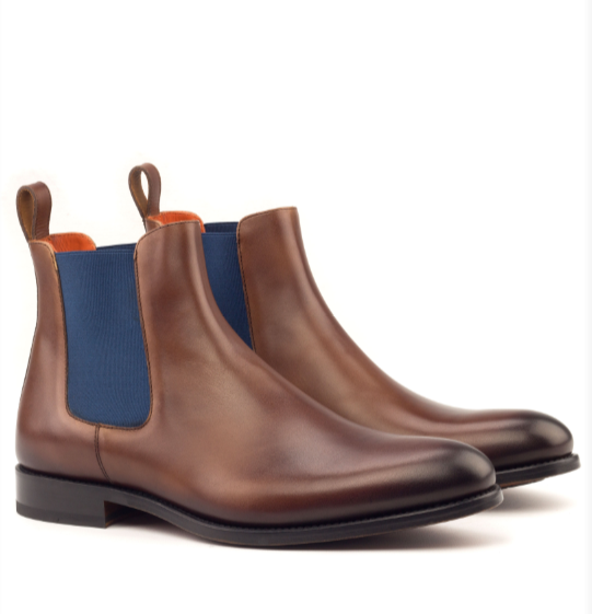 Chelsea Boot - Med Brown Painted Calf with Blue Elastic