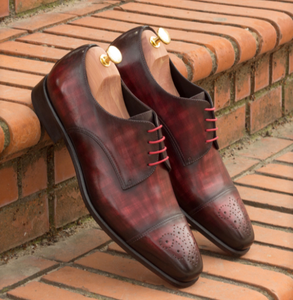 Derby Shoe - Black Patent & Burgundy Crust Patina