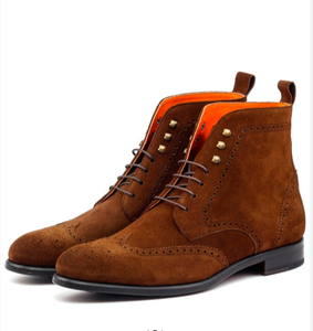 Military Brogue - Med Brown Lux Suede