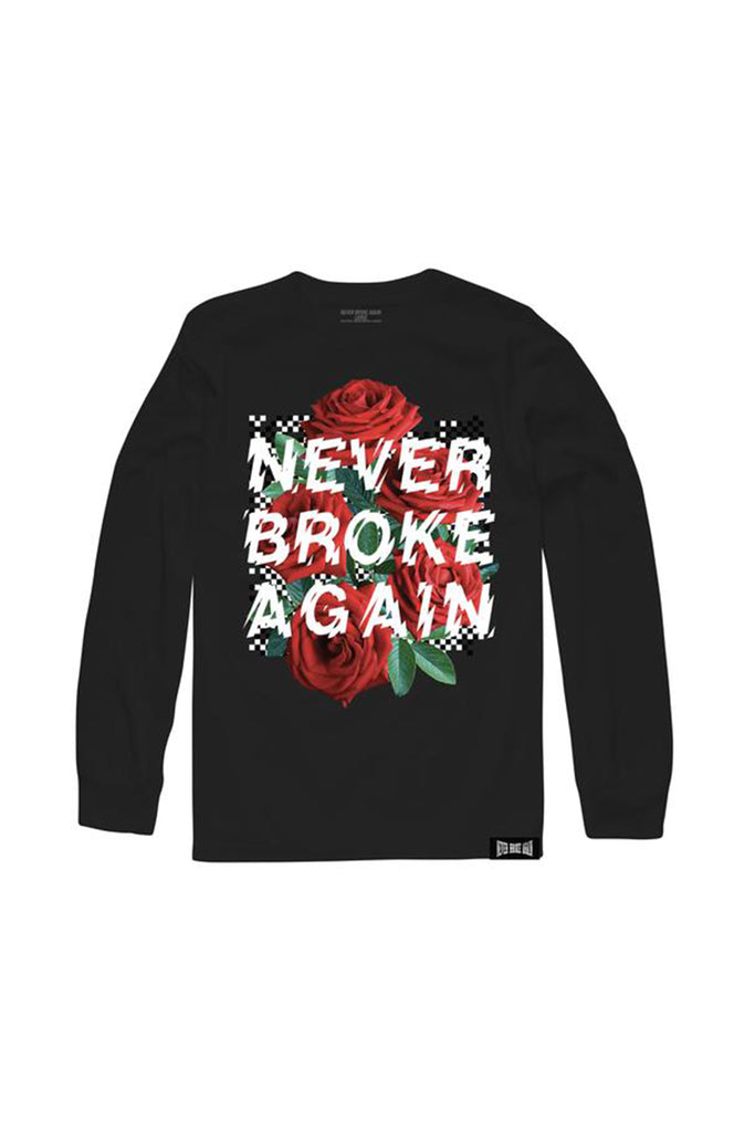 Rose Checkers Long Sleeve - Black