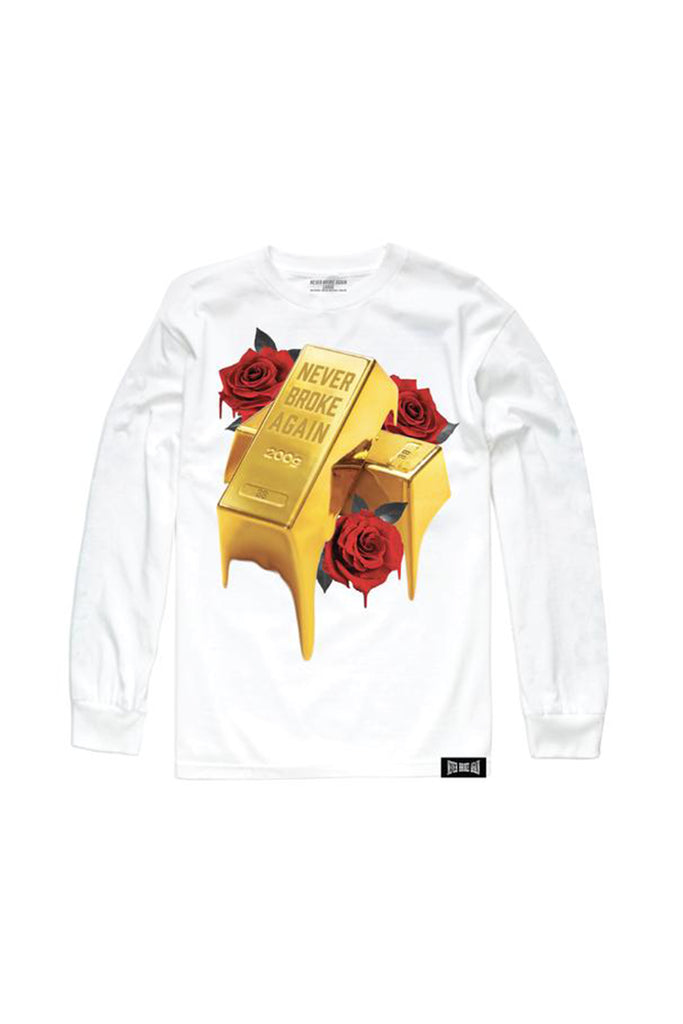 Gold Drip Long Sleeve - White